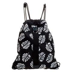 Dolce and Gabbana Black Palm Print Drawstring Backpack