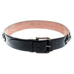 Dolce and Gabbana Black Patent Leather Belt Size 85CM
