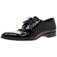 Dolce and Gabbana Black Patent Leather Derby Oxford Shoes Size 43