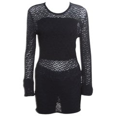 Dolce and Gabbana Black Perforated Knit Sweater L