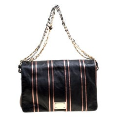 Dolce and Gabbana Black/Pink Leather Stripe Miss Charles Shoulder Bag