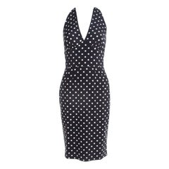 Dolce and Gabbana Black Polka Dotted Silk Halter Dress S