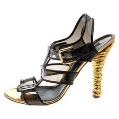 Dolce And Gabbana Black PVC And Leather Strappy  Detail Heel Sandals Size 41