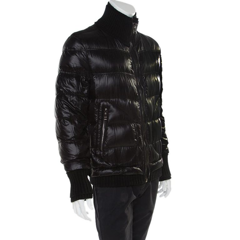 Dolce and Gabbana Black Quilted Bomber Jacket M In Good Condition For Sale In Dubai, Al Qouz 2