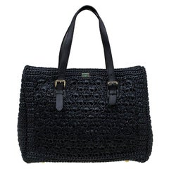 Dolce and Gabbana Black Raffia Crochet Alma Tote