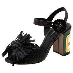 Dolce and Gabbana Black Raffia Keira Ankle Strap Sandals Size 36