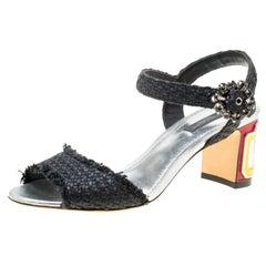 Dolce and Gabbana Black Raffia Keira Cafe Bar Block Heel Ankle Strap Sandals Siz