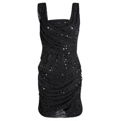 Dolce and Gabbana Black Ruched Embellished Sleeveless Dress L