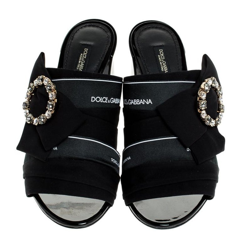 Dolce and Gabbana Black Satin Crystal Embellished Bow Mules Size 36 In New Condition For Sale In Dubai, Al Qouz 2