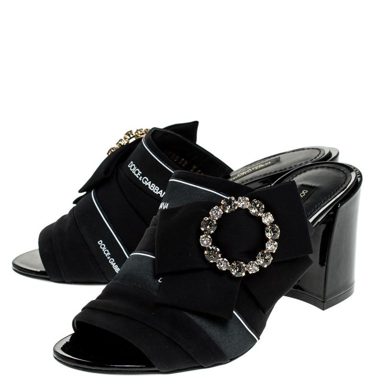 Dolce and Gabbana Black Satin Crystal Embellished Bow Mules Size 36 For Sale 1