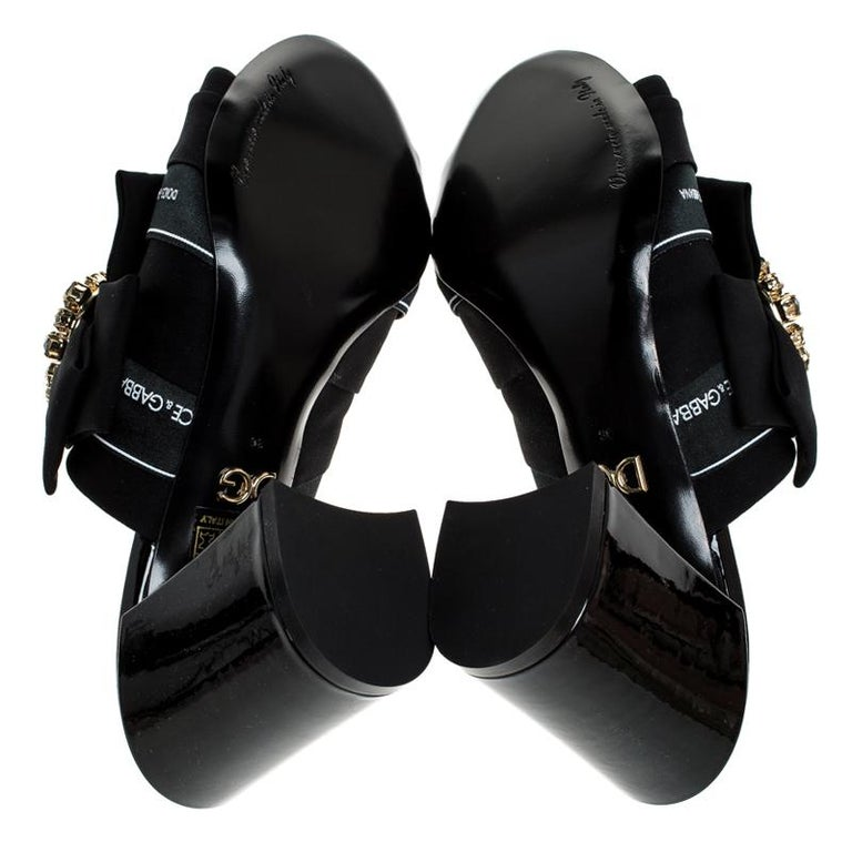 Dolce and Gabbana Black Satin Crystal Embellished Bow Mules Size 36 For Sale 3