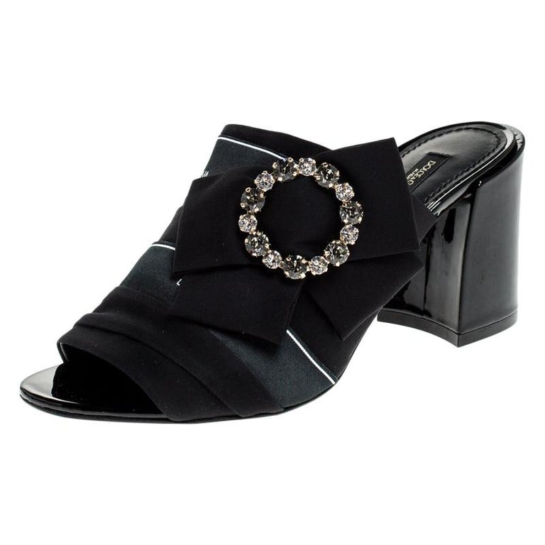 Dolce and Gabbana Black Satin Crystal Embellished Bow Mules Size 36 For Sale