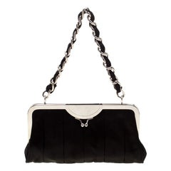 Dolce and Gabbana Black Satin Framed Chain Clutch