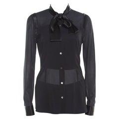 Dolce and Gabbana Black Satin Trim Neck Tie Detail Long Sleeve Blouse S