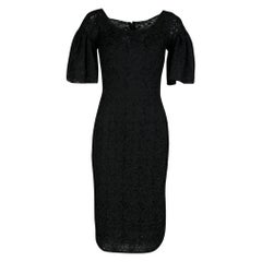 Dolce and Gabbana Black Scalloped Edge Applique Lace Sheath Dress S