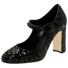 Dolce and Gabbana Black Sequin Mary Jane Pumps Size 38