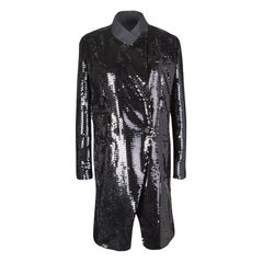 Dolce and Gabbana Black Sequin Paillette Velvet Trim Double Breasted Coat S