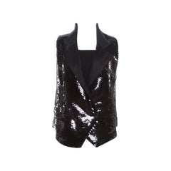 Dolce and Gabbana Black Sequined Double Breasted Vest M