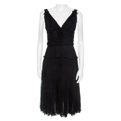 Dolce and Gabbana Black Silk Elasticized Strap Detail Dress M