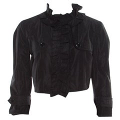 Dolce and Gabbana Black Silk Taffeta Ruffled Bolero S