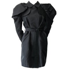 Dolce and Gabbana Black Silk Trench with Accented Shoulders Size 40