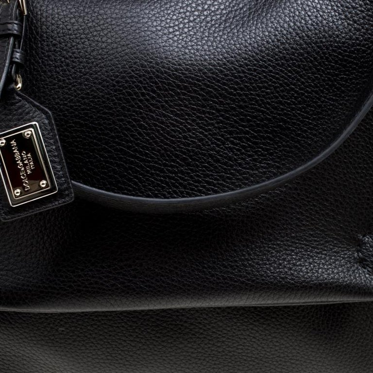 Dolce and Gabbana Black Soft Leather Large Sicily Top Handle Bag For Sale 6