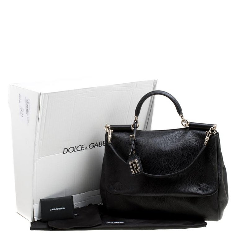 Dolce and Gabbana Black Soft Leather Large Sicily Top Handle Bag For Sale 7
