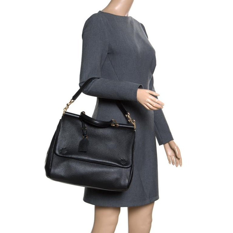 Dolce and Gabbana Black Soft Leather Large Sicily Top Handle Bag In New Condition For Sale In Dubai, Al Qouz 2