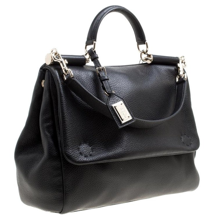 Women's Dolce and Gabbana Black Soft Leather Large Sicily Top Handle Bag For Sale