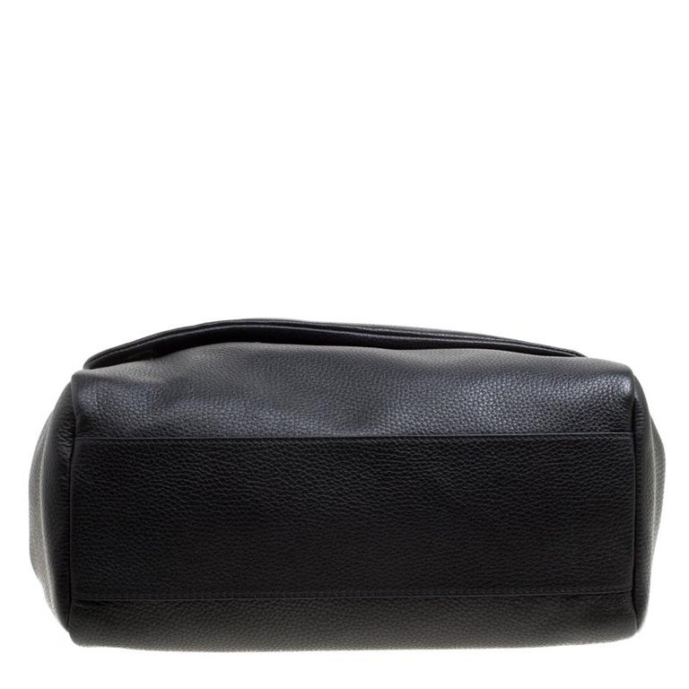 Dolce and Gabbana Black Soft Leather Large Sicily Top Handle Bag For Sale 1