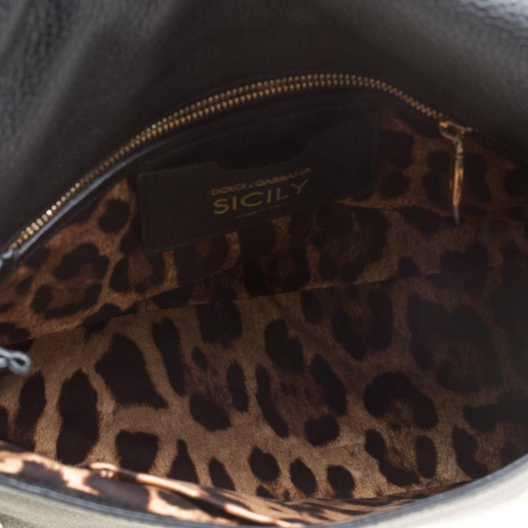 Dolce and Gabbana Black Soft Leather Large Sicily Top Handle Bag For Sale 3