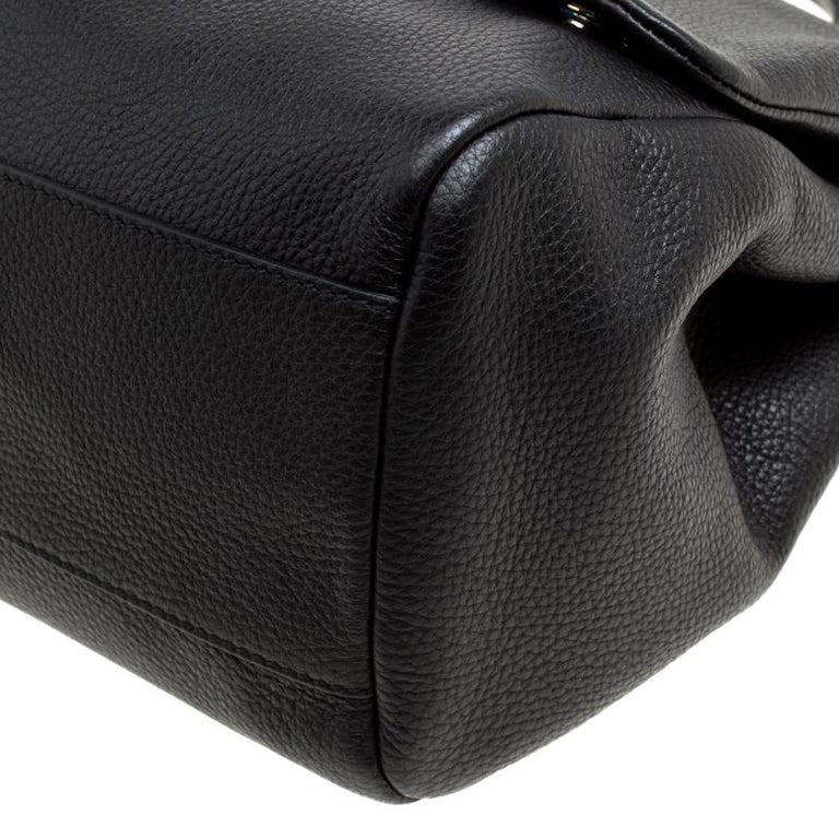 Dolce and Gabbana Black Soft Leather Large Sicily Top Handle Bag For Sale 4
