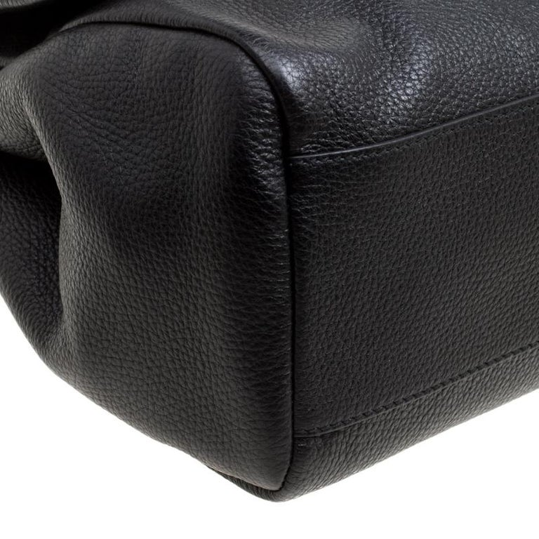 Dolce and Gabbana Black Soft Leather Large Sicily Top Handle Bag For Sale 5