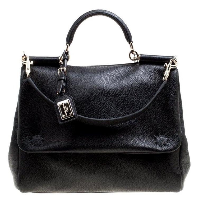 Dolce and Gabbana Black Soft Leather Large Sicily Top Handle Bag For Sale