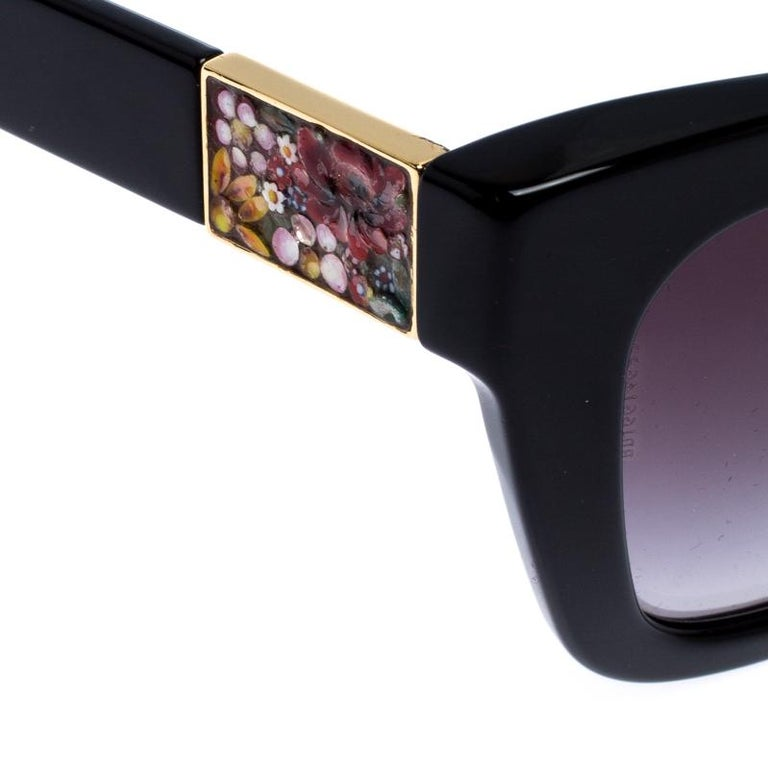 Dolce and Gabbana Black Special Edition Mosaico Cat Eye Sunglasses For Sale 1