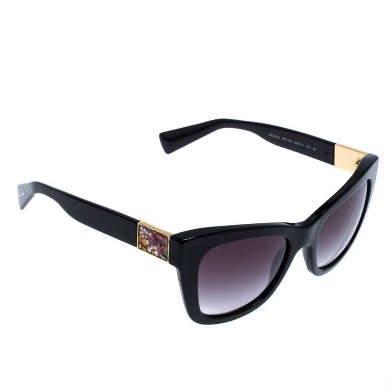 Dolce and Gabbana Black Special Edition Mosaico Cat Eye Sunglasses For Sale 2