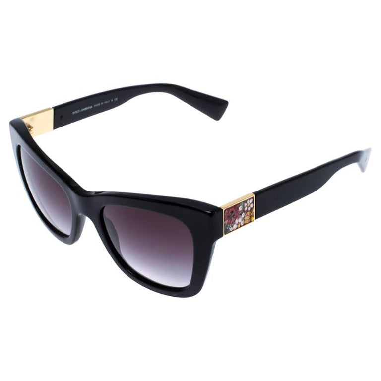 Dolce and Gabbana Black Special Edition Mosaico Cat Eye Sunglasses For Sale