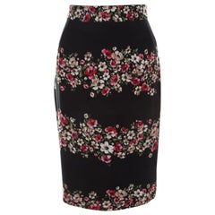 Dolce and Gabbana Black Striped Floral Print Cady Pencil Skirt S