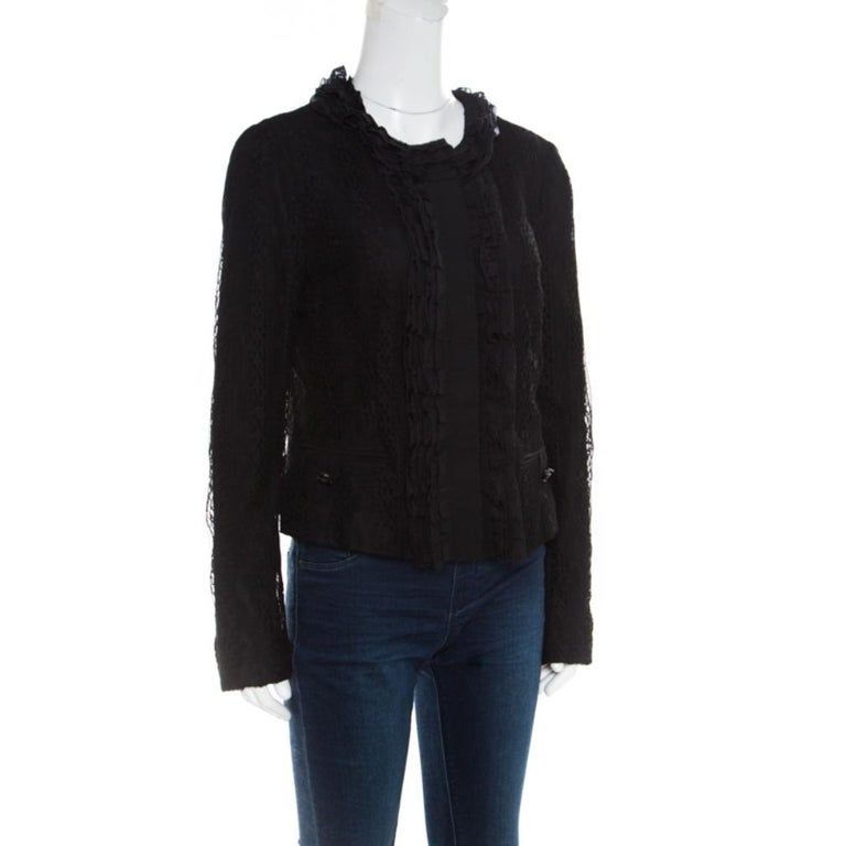 Dolce and Gabbana Black Striped Lace Ruffle Trim Button Front Jacket M In Good Condition For Sale In Dubai, Al Qouz 2