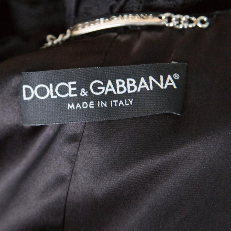 Dolce and Gabbana Black Striped Lace Ruffle Trim Button Front Jacket M For Sale 1