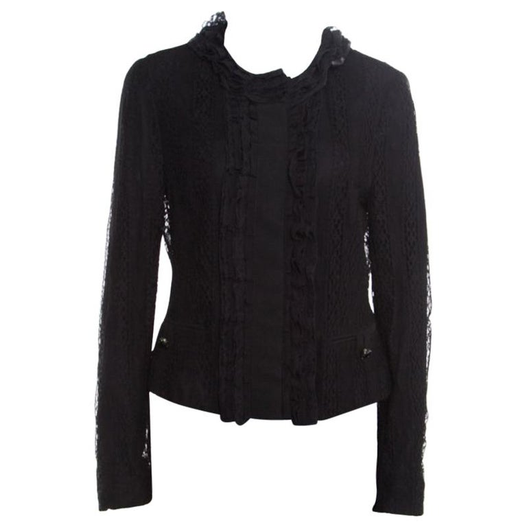 Dolce and Gabbana Black Striped Lace Ruffle Trim Button Front Jacket M For Sale