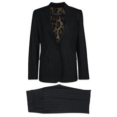 Dolce and Gabbana Black Striped Tailored Pant Suit M