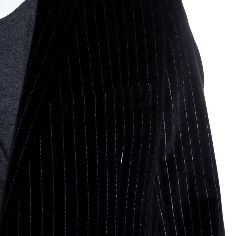 Men's Dolce and Gabbana Black Striped Velvet Martini Blazer M For Sale
