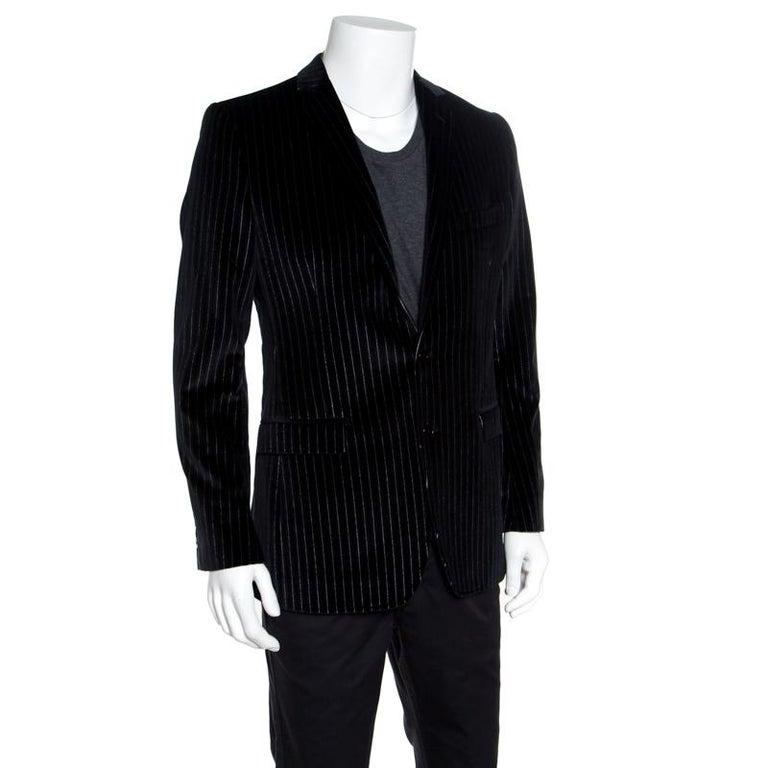 Dolce and Gabbana Black Striped Velvet Martini Blazer M For Sale 1