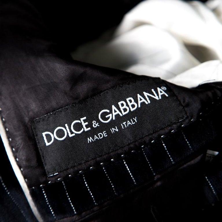 Dolce and Gabbana Black Striped Velvet Martini Blazer M For Sale 2