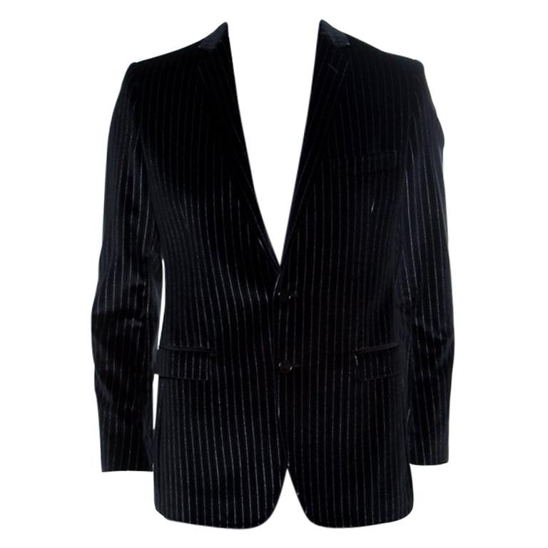 Dolce and Gabbana Black Striped Velvet Martini Blazer M For Sale