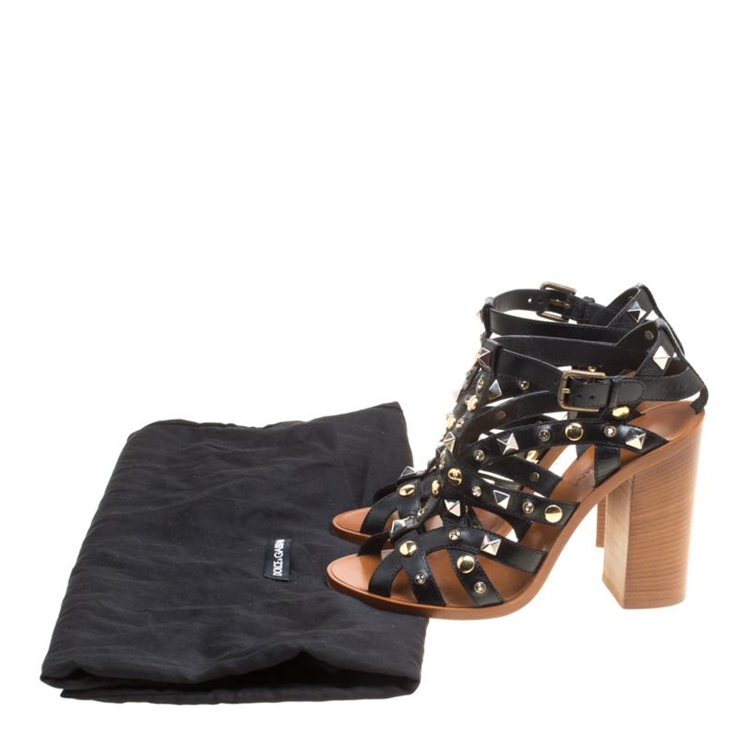 dfdb344a70e Dolce and Gabbana Black Studded Strappy Leather Block Heel Sandals Size 38  For Sale at 1stdibs