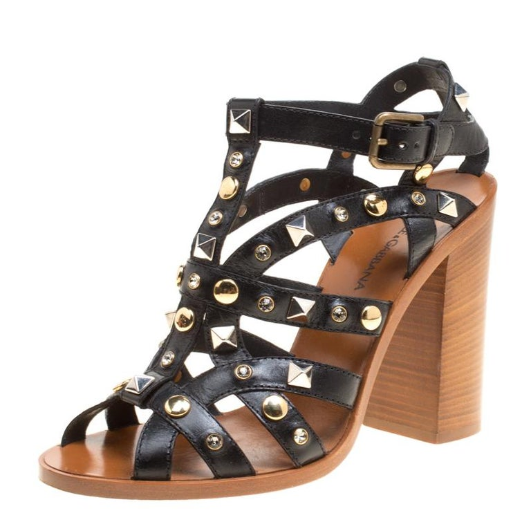 db284b2dba6 Dolce and Gabbana Black Studded Strappy Leather Block Heel Sandals Size 38  For Sale