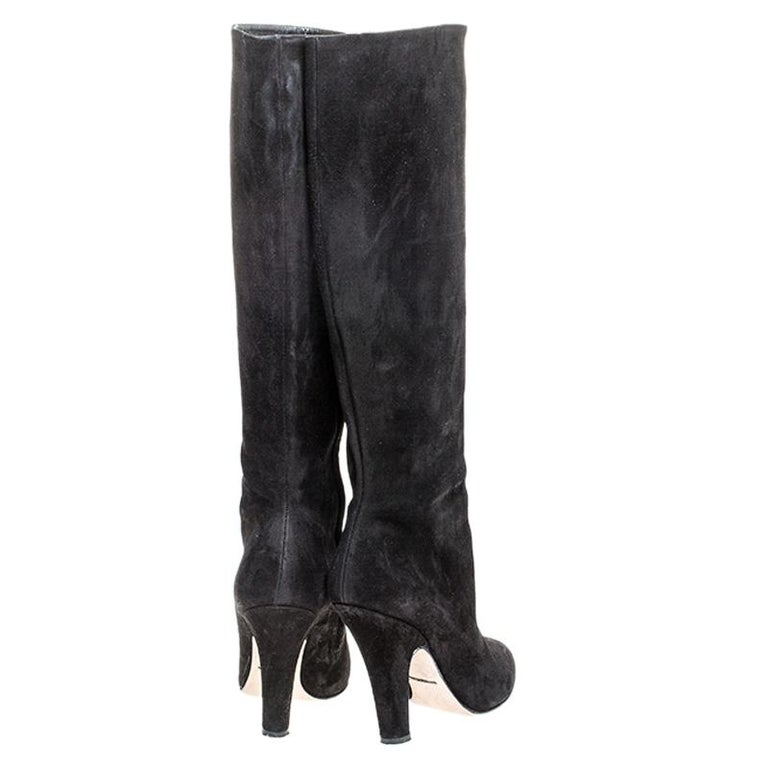Women's Dolce and Gabbana Black Suede Knee Length Boots Size 39 For Sale
