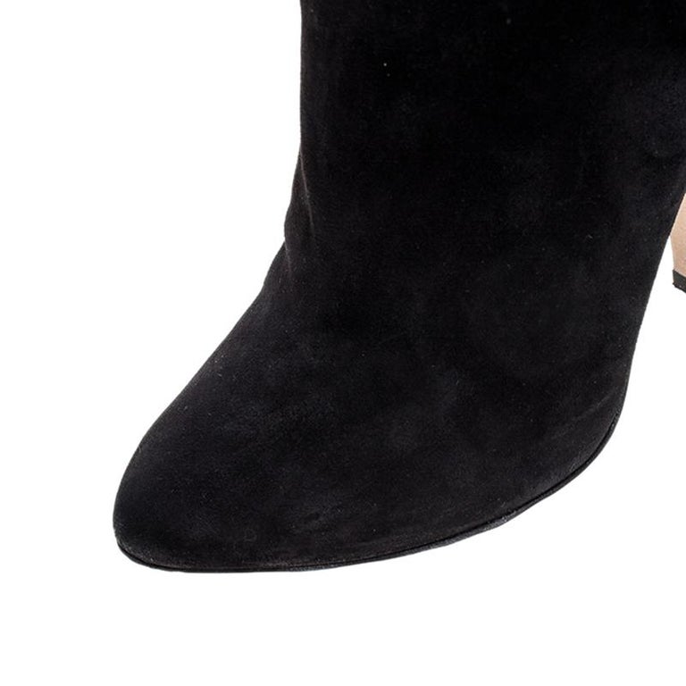 Dolce and Gabbana Black Suede Knee Length Boots Size 39 For Sale 2